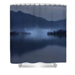 Fog On The Dark Mountain Lake Shower Curtain