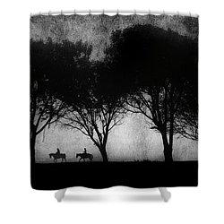 Foggy Morning Ride Shower Curtain