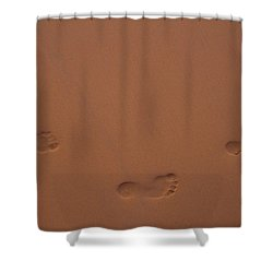 Shower Curtain featuring the photograph Foot Prints In Sand by Stuart Manning