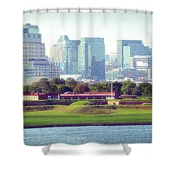 Shower Curtain featuring the photograph Fort Mchenry With Baltimore Background by Bill Swartwout Fine Art Photography