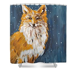 Shower Curtain featuring the painting Fox Winter Night by Maria Langgle