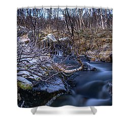 Frozen River And Winter In Forest Shower Curtain