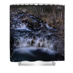 Frozen River In Forest - Long Exposure With Nd Filter Shower Curtain