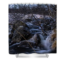 Frozen Stream In Winter Forest Shower Curtain