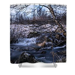 Frozen Tree In Winter River Shower Curtain