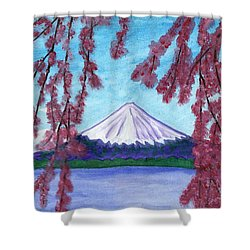 Fuji Mountain And Sakura Shower Curtain