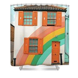 Funky Rainbow House Shower Curtain