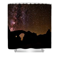Shower Curtain featuring the photograph Galactic Turret Arch by Andy Crawford