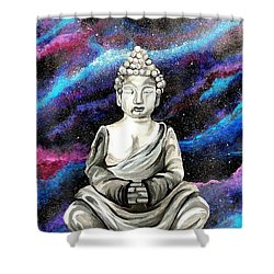 Shower Curtain featuring the painting Galaxy Buddha  by Jennah Lenae