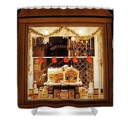 Shower Curtain featuring the photograph Gingerbread Holiday Window by Kristia Adams