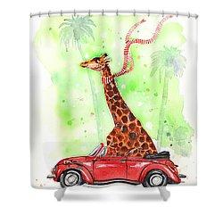 Giraffe In A Beetle Shower Curtain