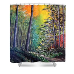 Glowing Forrest Shower Curtain