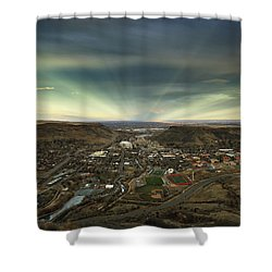 Go East Young Man Shower Curtain