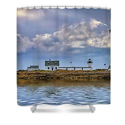 Shower Curtain featuring the photograph Goat Island Lighthouse by Rick Berk
