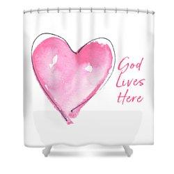 God Lives Here Shower Curtain