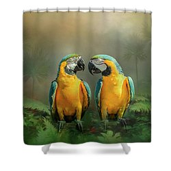 Gold And Blue Macaw Pair Shower Curtain