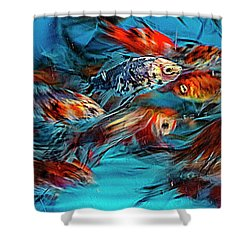 Gold Fish Abstract Shower Curtain