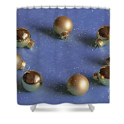 Golden Christmas Balls On The Snowy Background Shower Curtain