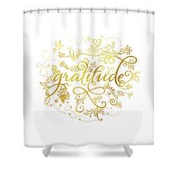 Golden Gratitude Shower Curtain