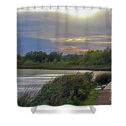 Golden Sunset Over Wetland Shower Curtain
