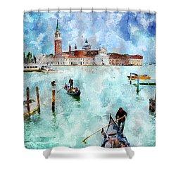 Gondola Rides And San Giorgio Di Maggiore In Venice Shower Curtain