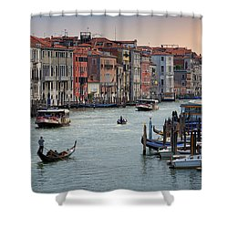Shower Curtain featuring the photograph Grand Canal Gondolier Venice Italy Sunset by Nathan Bush