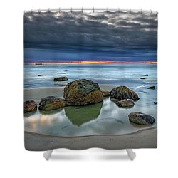 Shower Curtain featuring the photograph Gray Morning On Wells Beach by Rick Berk