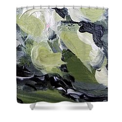 Shower Curtain featuring the painting Green #1 by Maria Langgle