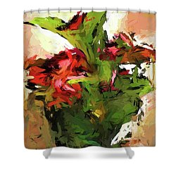 Green Leaves And The Red Flower Shower Curtain