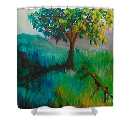 Shower Curtain featuring the painting Green Pastures by Saundra Johnson