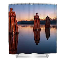 Group Of Three Docking Piles On Connecticut River Shower Curtain