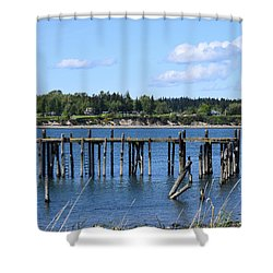 Guemes Island And Old Pier Shower Curtain