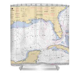 Gulf Of Mexico, Noaa Chart 411 Shower Curtain