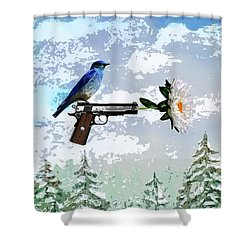 Bluebird Of Happiness- Flower In A Gun Shower Curtain