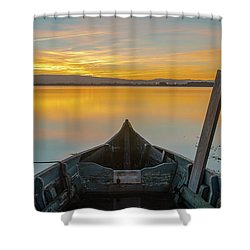 Shower Curtain featuring the photograph Half A Boat by Bruno Rosa