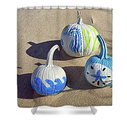 Shower Curtain featuring the photograph Halloween Blue And White Pumpkins On A Dune by Bill Swartwout Fine Art Photography