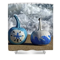 Shower Curtain featuring the photograph Halloween Blue And White Pumpkins On The Beach by Bill Swartwout Fine Art Photography