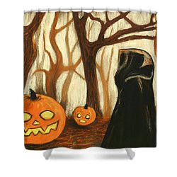 Shower Curtain featuring the painting Halloween Forest by Anastasiya Malakhova