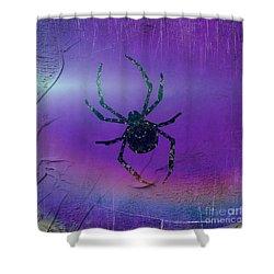 Shower Curtain featuring the mixed media Halloween Spider Dream by Rachel Hannah