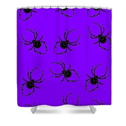 Shower Curtain featuring the mixed media Halloween Spiders Creeping by Rachel Hannah