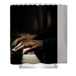 Hands Playing Piano Close-up Shower Curtain