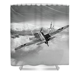 Shower Curtain featuring the photograph Hawker Hurricane Deflection Shot Bw Version by Gary Eason