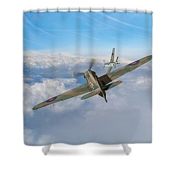 Shower Curtain featuring the photograph Hawker Hurricane Deflection Shot by Gary Eason