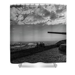 Shower Curtain featuring the photograph Heavy Weapons And A Light Lunch by Alex Lapidus