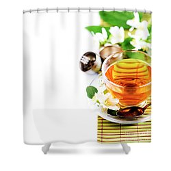 Herbal Green Tea With Jasmine Flower In Transparent Teacup Borde Shower Curtain