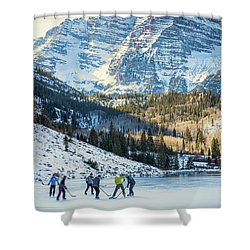 Shower Curtain featuring the photograph Hockey On Maroon Lake Maroon Bells Aspen Colorado by Nathan Bush