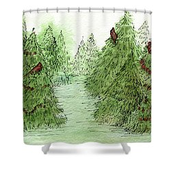 Holiday Trees Woodland Landscape Illustration Shower Curtain