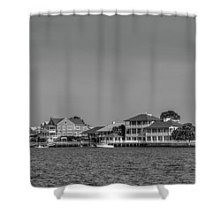 Homes Across The Water In Morning In Black And White Shower Curtain