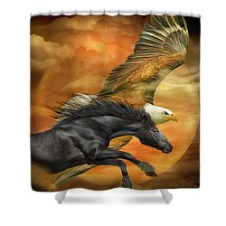 Shower Curtain featuring the mixed media Horse And Eagle - Spirits Of The Wind  by Carol Cavalaris