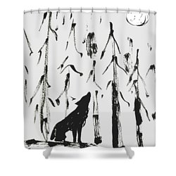 Shower Curtain featuring the painting Howl #2 by Maria Langgle